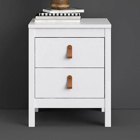 Barcila 2 Drawers Bedside Table In White