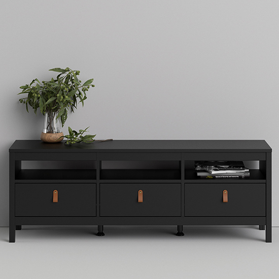 Barcila 3 Drawers Wooden TV Stand In Matt Black