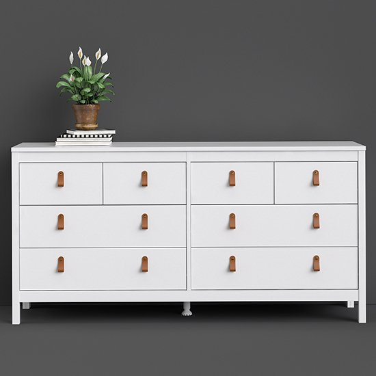Barcila Large Chest Of Drawers In White With 8 Drawers