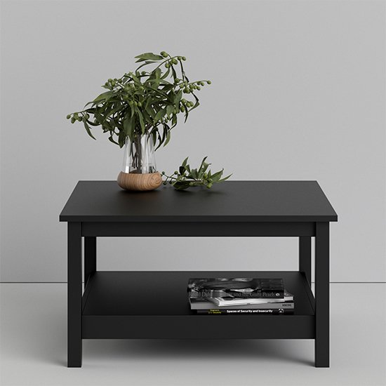 View Barcila square wooden coffee table in matt black