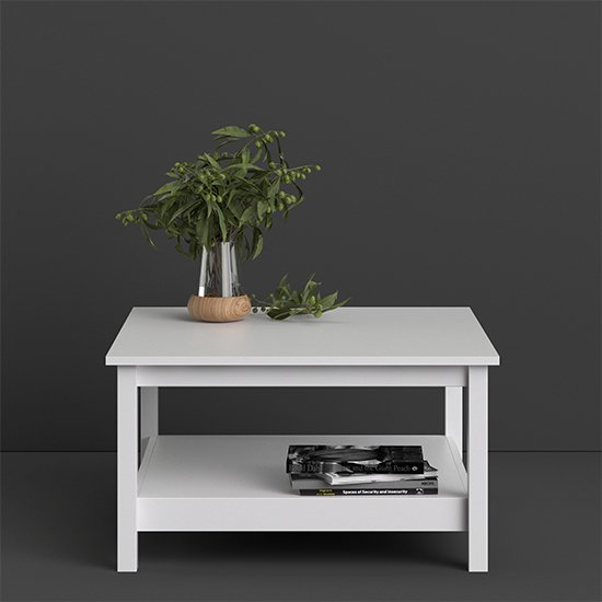 View Barcila square wooden coffee table in white