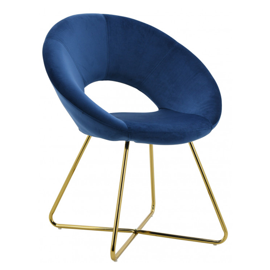 Barclay Velvet Dining Chair In Blue With Gold Steel Legs_2