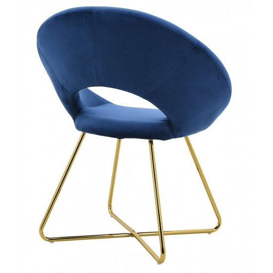 Barclay Velvet Dining Chair In Blue With Gold Steel Legs_3