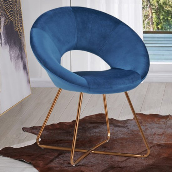Barclay Velvet Dining Chair In Blue With Gold Steel Legs