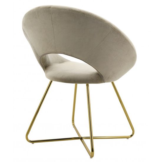 Barclay Velvet Dining Chair In Grey With Gold Steel Legs_2
