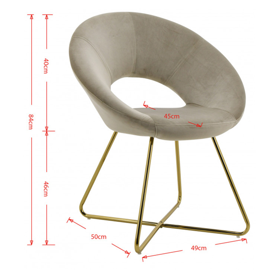 Barclay Velvet Dining Chair In Grey With Gold Steel Legs_3