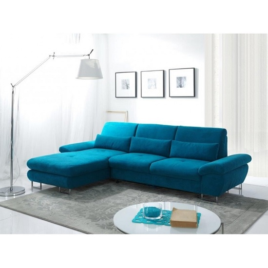 Bardo Modern Fabric Corner Sofa Bed In Blue With Storage