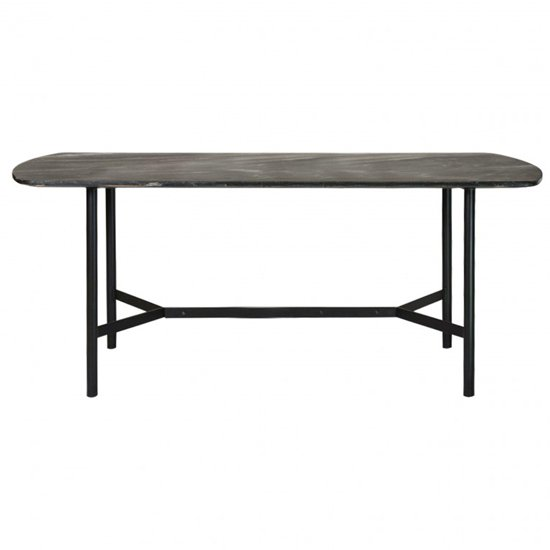 Bari Wooden Dining Table With Black Marble Top