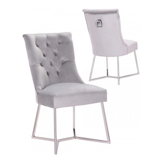 Bari Silver Velvet Dining Chairs In Pair