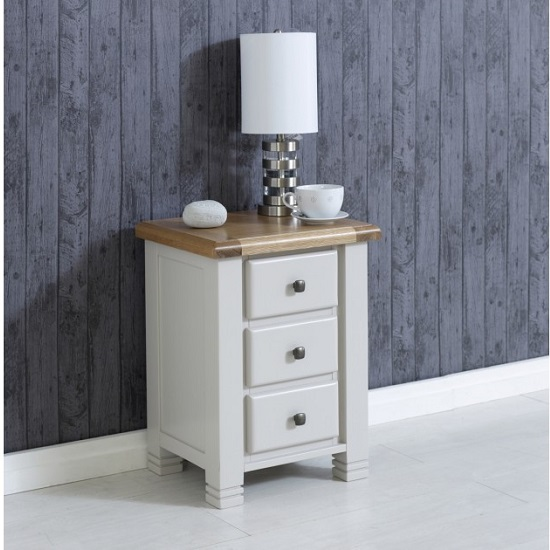 Barista Wooden Bedside Cabinet In Grey With 3 Drawers