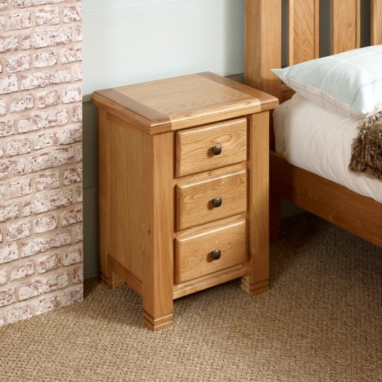 Barista Wooden Bedside Cabinet In Oak With 3 Drawers