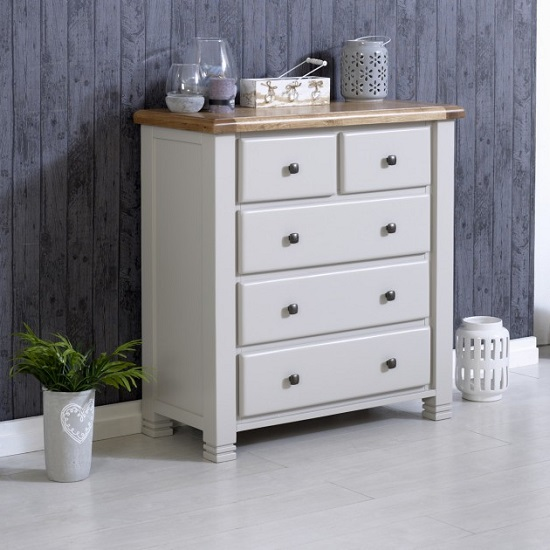Barista Wooden Chest Of Drawers In Grey With 5 Drawers