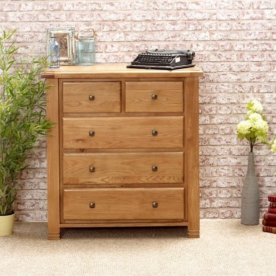 Barista Wooden Chest Of Drawers In Oak With 5 Drawers