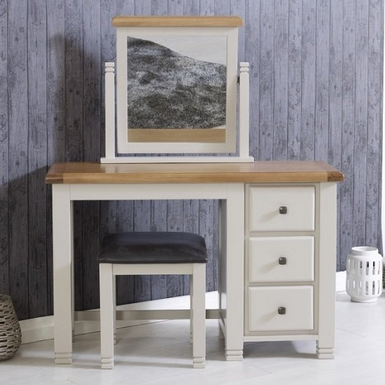 Barista Wooden Dressing Table And Mirror With Stool In Grey