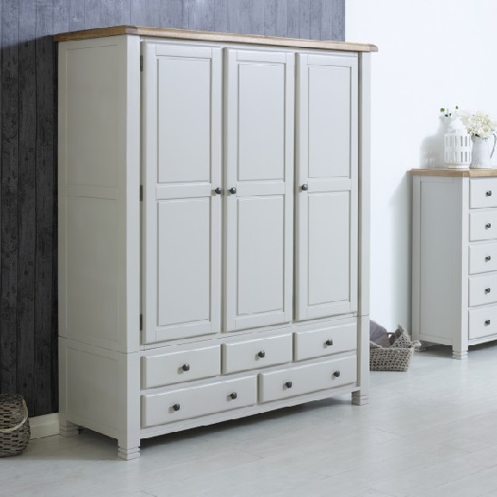 Barista Wooden Wardrobe In Grey With 3 Doors And 5 Drawers