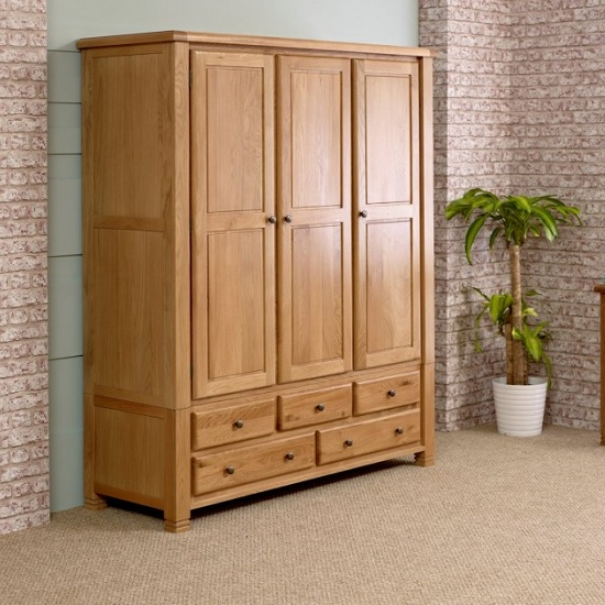 Barista Wooden Wardrobe In Oak With 3 Doors And 5 Drawers