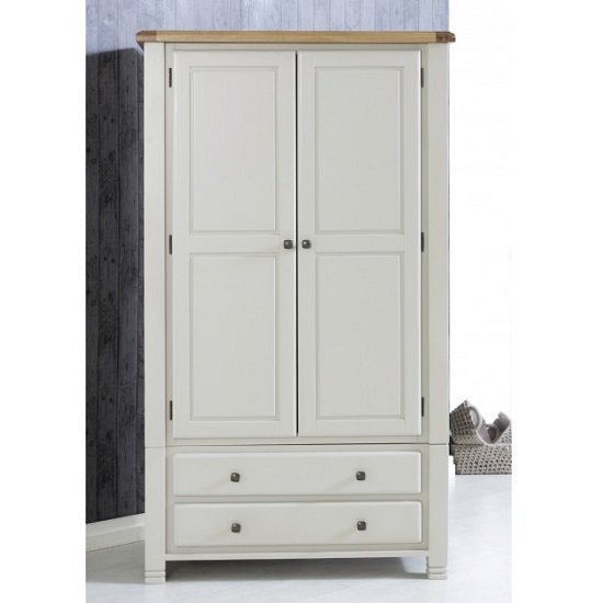 Barista Wooden Wardrobe In Grey With 2 Doors And 2 Drawers