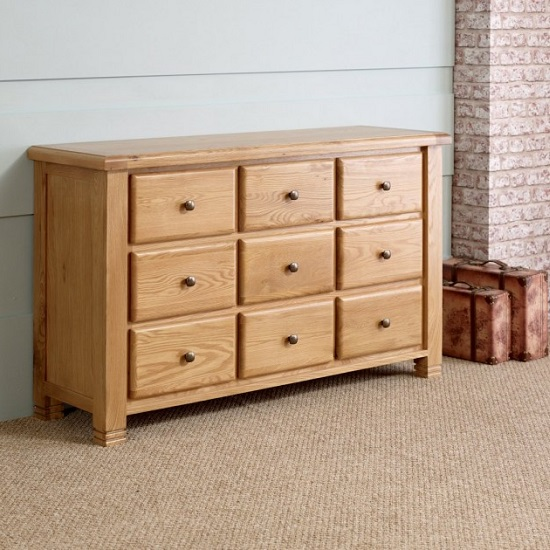 Barista Wooden Wide Chest Of Drawers In Oak With 9 Drawers