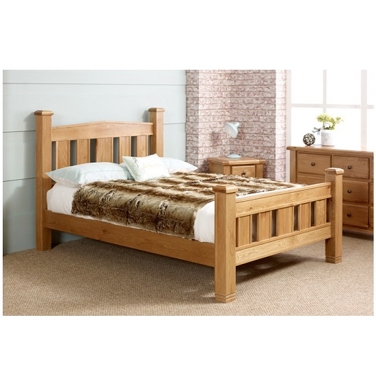 Barista Cotemporary Wooden Bed In Natural Oak