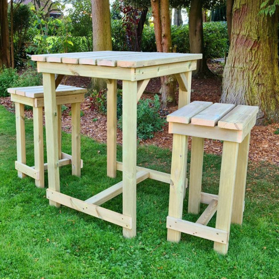 Barkingside Wooden Outdoor Bar Table With 2 Stools