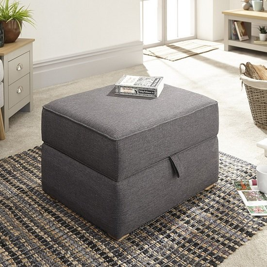 Barkley Fabric Storage Footstool Square In Hopsack Grey