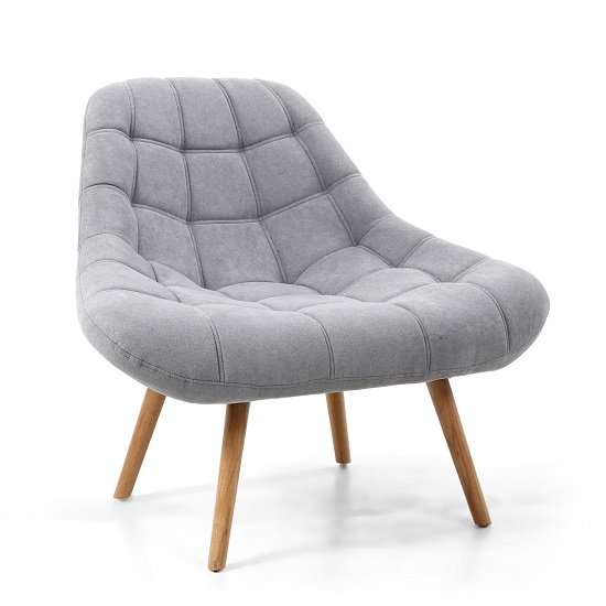 Barletto Fabric Lounge Chair In Light Grey With Wooden Legs