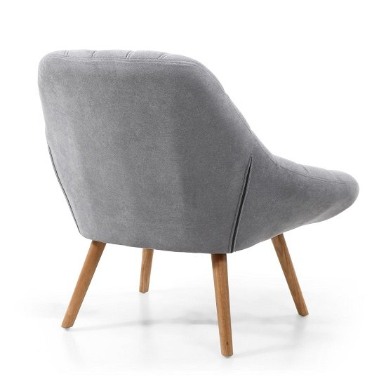 Barletto Fabric Lounge Chair In Light Grey With Wooden Legs_2