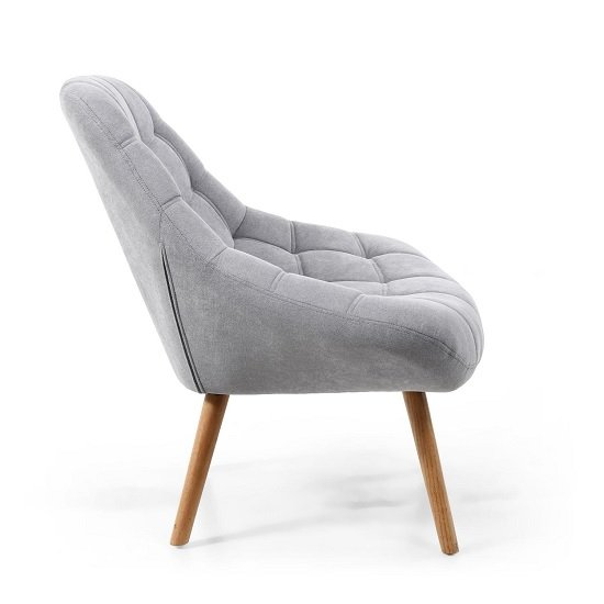 Barletto Fabric Lounge Chair In Light Grey With Wooden Legs_3