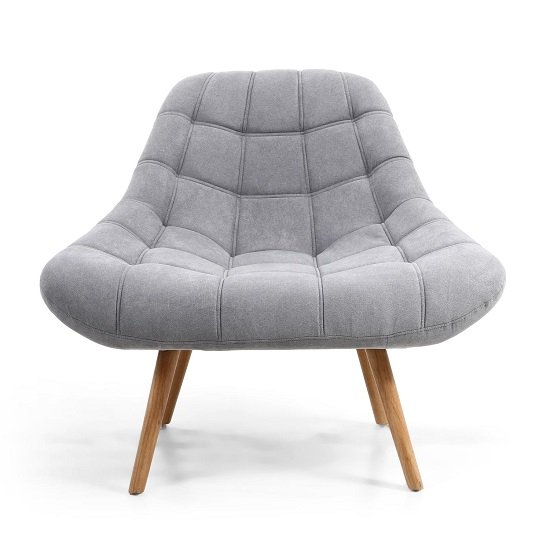 Barletto Fabric Lounge Chair In Light Grey With Wooden Legs_4