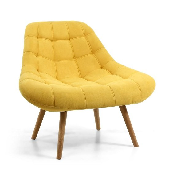 Barletto Fabric Lounge Chair In Sunny Yellow With Wooden Legs