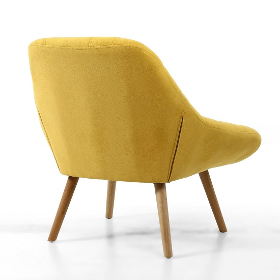 Barletto Fabric Lounge Chair In Sunny Yellow With Wooden Legs_2