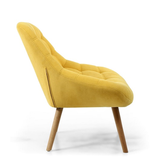 Barletto Fabric Lounge Chair In Sunny Yellow With Wooden Legs_3