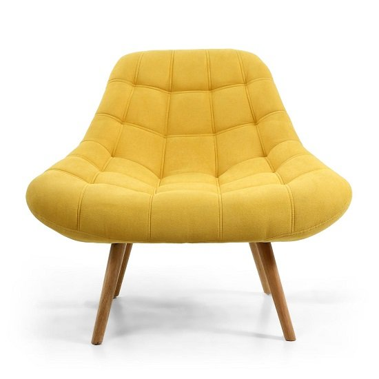 Barletto Fabric Lounge Chair In Sunny Yellow With Wooden Legs_4