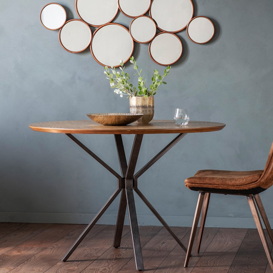 Barnes Round Dining Table With Metal Legs