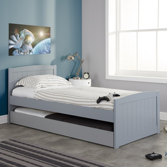 Barnese Wooden Single Bed In Grey With Pull Out Trundle_1