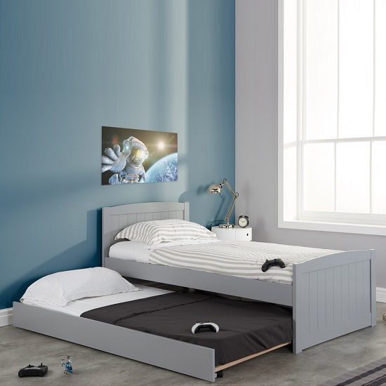 Barnese Wooden Single Bed In Grey With Pull Out Trundle_2