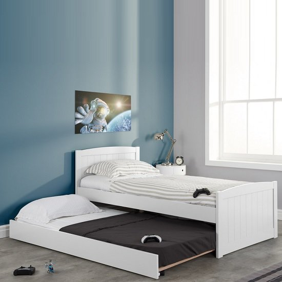 Barnese Wooden Single Bed In White With Pull Out Trundle_2