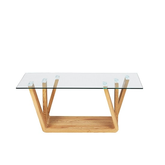 Barney Glass Coffee Table In Clear With Wild Oak Base