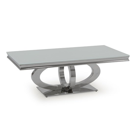 Barney Glass Coffee Table In White With Polished Metal Base_2