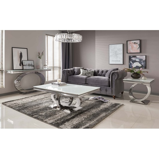 Barney Glass Coffee Table In White With Polished Metal Base_3