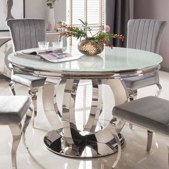 Barney Glass Dining Table Round In White And Polished Metal Base