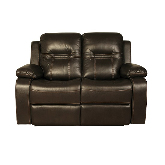 Barney 2 Seater Recliner Sofa In Brown Faux Leather