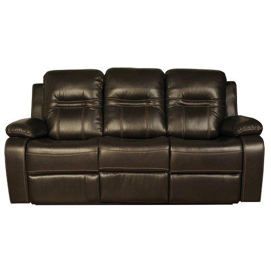 Barney Recliner 3 Seater Sofa In Brown Faux Leather