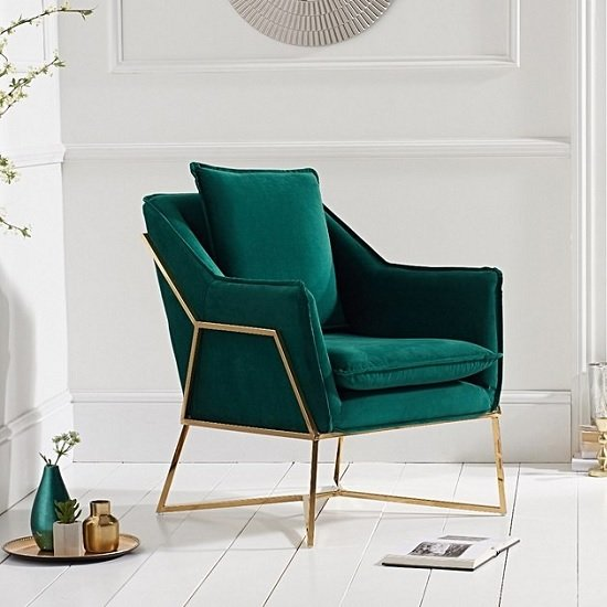 Baron Modern Accent Chair In Green Velvet With Gold Frame
