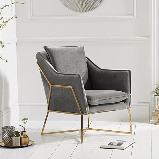 Baron Modern Accent Chair In Grey Velvet With Gold Frame
