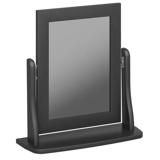 Baroque Dressing Table Mirror In Black Wooden Frame