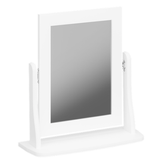 Baroque Dressing Table Mirror In Pure White Wooden Frame