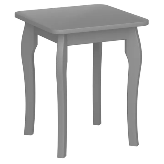 View Baroque wooden dressing table stool in grey