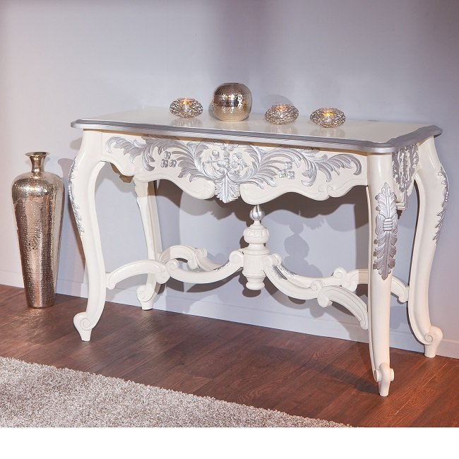baroque console table in ornate white and silver wood 25529. Black Bedroom Furniture Sets. Home Design Ideas