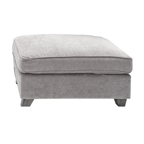 Barresi Chenille Fabric Ottoman In Silver With Wooden Legs